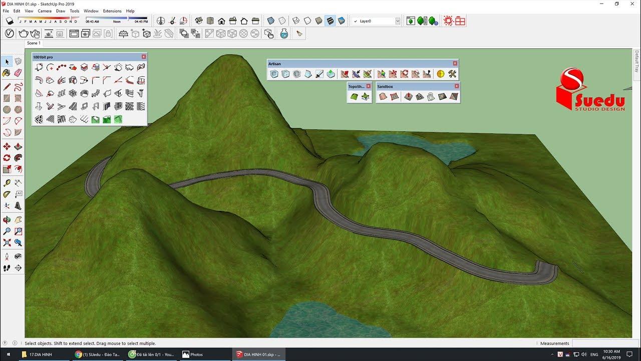 Sketchup modeling Tutorial :Terrain model - Cách dựng địa hình bằng Sanbox - toposhaper