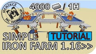 SIMPLE IRON FARM 4000 IRON / 1H / MC 1.16 - 1.16.3 ➡ / TUTORIAL | Menikcz | CZ/SK 720p60 HD