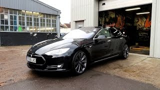 Tesla Model S P85D Wrapped in Matte Gunmetal Grey