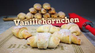 Vanillehörnchen | Gefüllte Puddinghörnchen | Hefeteig ohne Gehzeit | Vanillepudding | Kikis Kitchen