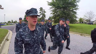 Navy public affairs students march to new B610 cadence