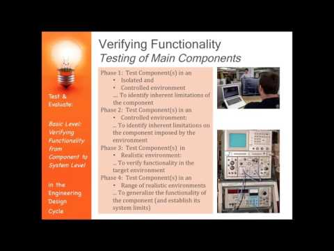 Basic Engineering Design:  Component Testing during Testing and Evaluation