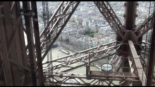 Lift ride to the top of the Eiffel Tower - 320 metres (1,050 ft) tall - Paris - HD