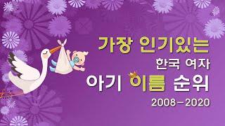 가장 인기있는 한국 여자 아기 이름 순위 2008-20…