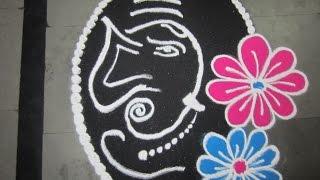 how to make gajanan mukh rangoli designs