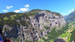 Швейцария, Долина 72 водопадов, мой первый полет на параплане с высоты 1700 метров часть 6.