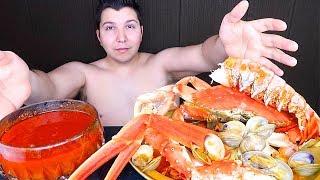 Bloves Sauce • King Crab Leg, Lobster Tail, Snow Crab Leg, Dungeness Crab, Shrimp, Clams • MUKBANG