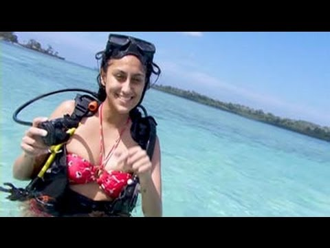 Beach babe Karuna goes scuba diving in the Andamans