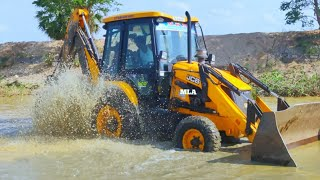 JCB Backhoe Machine Washing in River and Showing Stunt - JCB 3DX Machine Washing | Come For Village