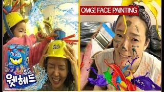 누가 이길까? 흥미진진한 웻헤드 VS 얼굴에 물감 칠하기. FUNNY KIDS PLAY