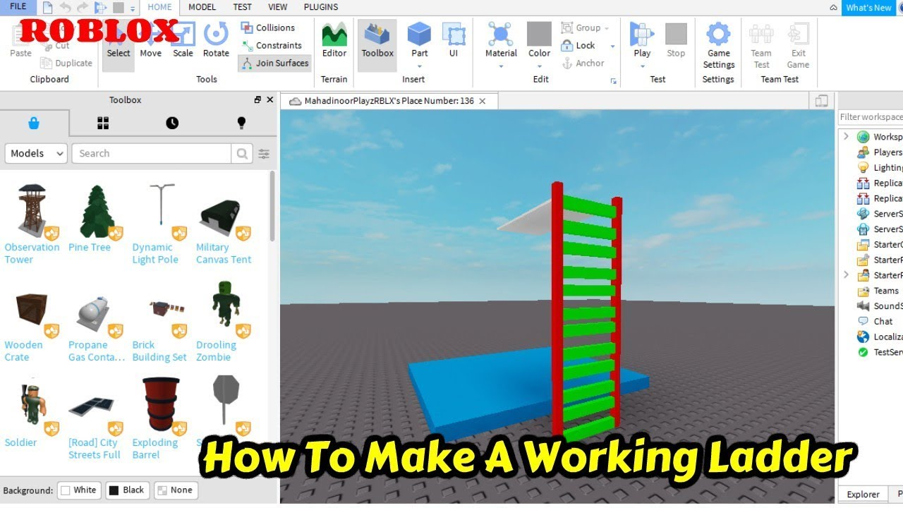 How To Make A Working Ladder Roblox Studio Tutorial 2020 Youtube