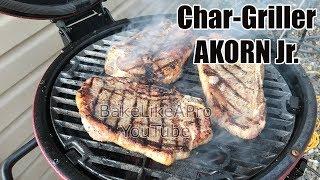 Char-Griller AKORN Junior BBQ Smoker Searing Steaks