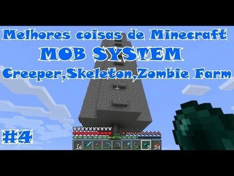 """Melhores coisas de Minecraft - EP04 """"TUTORIAL MOB SYSTEM TRAP, Creeper,skeleton,Zombie"""" (1.6)"""