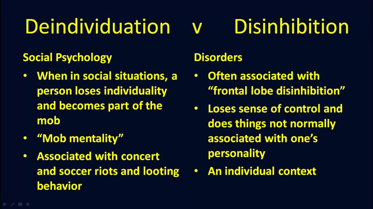 Deindividuation V Disinhibition Youtube