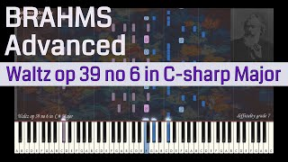 Johannes Brahms - Waltz op 39 no 6 in C sharp Major | Synthesia Piano Tutorial | Library of Music