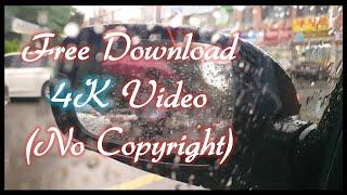 [무료영상,4K] 백미러 로 본 비오는날 거리 풍경, …