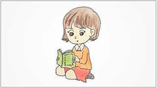How to draw a girl sitting and reading a book step by step