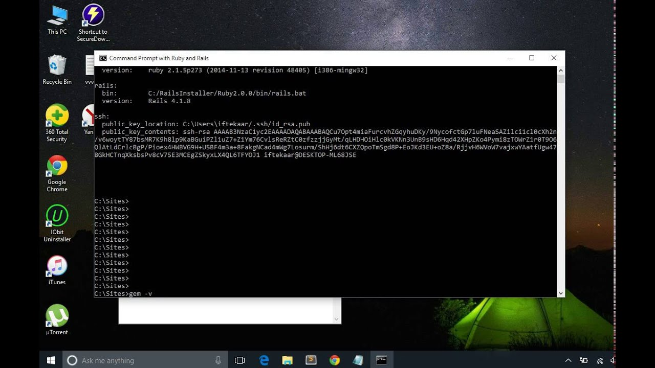 Install Rails on Windows 10/8 1/8/7