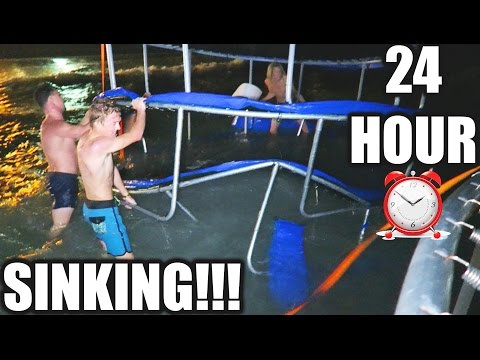 24 HOUR TRAMPOLINE FORT IN THE OCEAN! (Gone WRONG)
