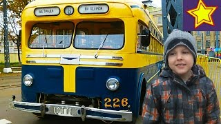 Развлечение для детей. Ретро Трамваи и Троллейбусы Видео для детей Video for children