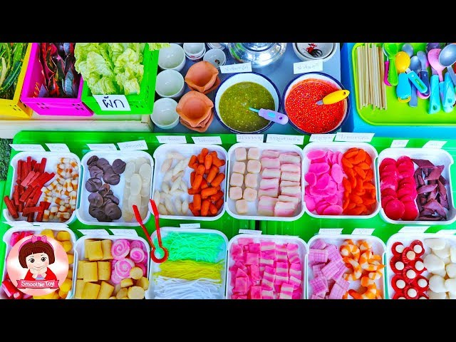 เจ้นุ้ยเปิดร้านขายโรตีสายไหม ปิ้งย่างทะเลเผา ของเล่นเครื่องครัว ของเล่นผักผลไม้หั่นได้ เล่นขายของ