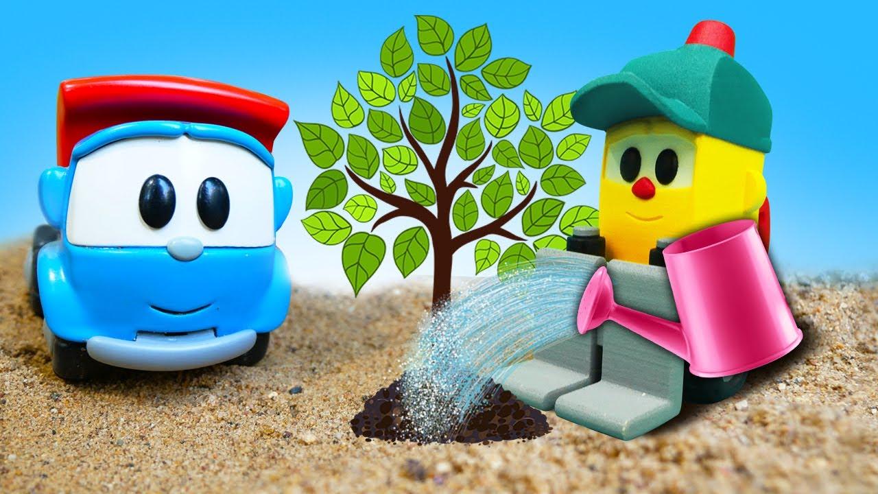 Vidéo éducative pour enfant. Léo le camion et Lifty plantent des fleurs et des arbres