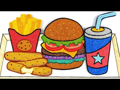 Hamburger, French Fries, Soda, Cheese Stick   🍔🍟Foam Clay Coloring, Clay Drawing