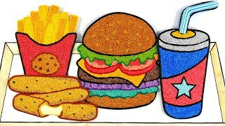 Hamburger, french fries, soda, cheese stick | Foam Clay coloring, clay drawing