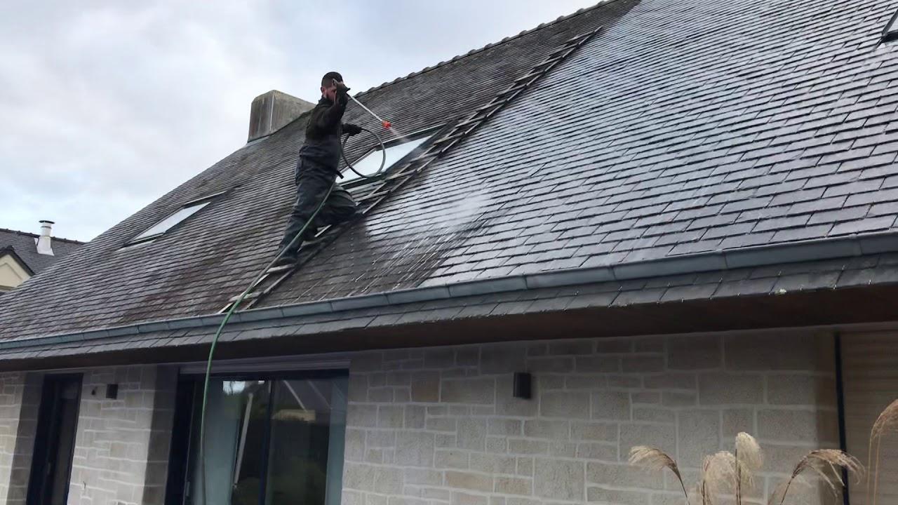 Traitement anti mousse toiture pour ardoise - YouTube