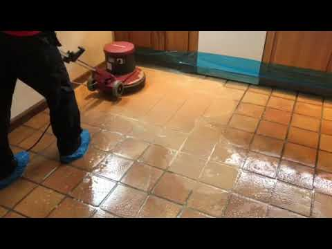 Cleaning terracotta floor tile