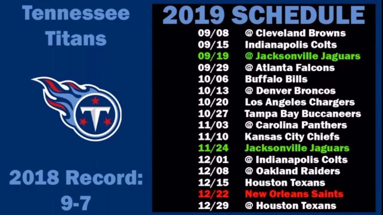Titans Schedule 2020.Tennessee Titans 2019 2020 Schedule