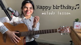 How to Play Happy Birthday Melody on Guitar | Easy Guitar Lesson for Beginners (hindi)