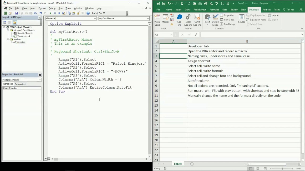 02 ENG VBA Excel How code is automatically generated by VBA when recording  a macro