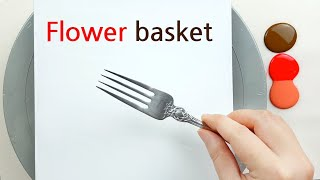 (466) Flower basket | Fork & Spoon technique | Fluid Acrylic for beginners | Designer Gemma77