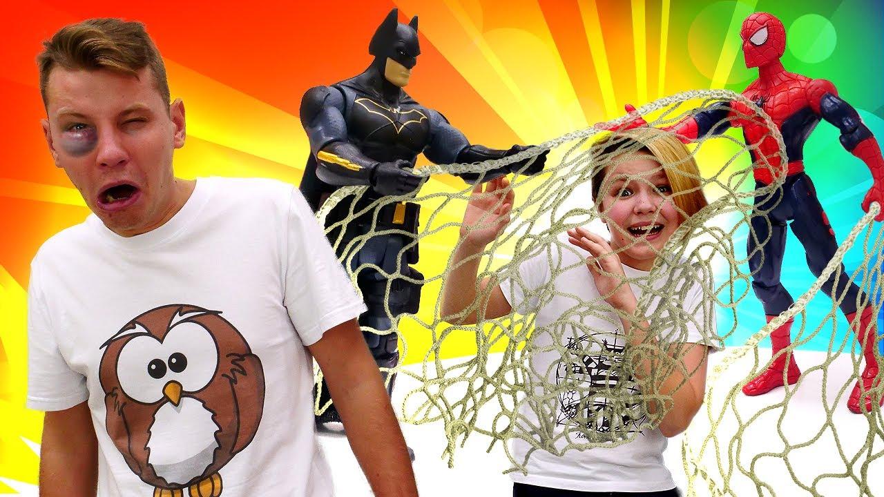 Человек Паук и Бэтмен – Битва Супергероев Полицейских! Игры для мальчиков – Новое видео шоу.