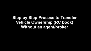 car ownership transfer rc book transfer without an agent