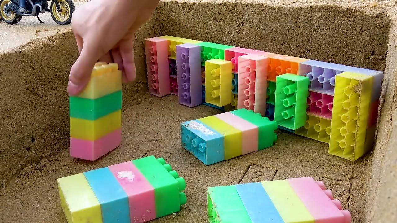 Konstruksi Jembatan Balok Mainan Mobil Truk Excavator Traktor Mainan Anak