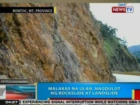 BP: Malakas na ulan, nagdulot na rockslide at landslide sa Bontoc, Mt. Province