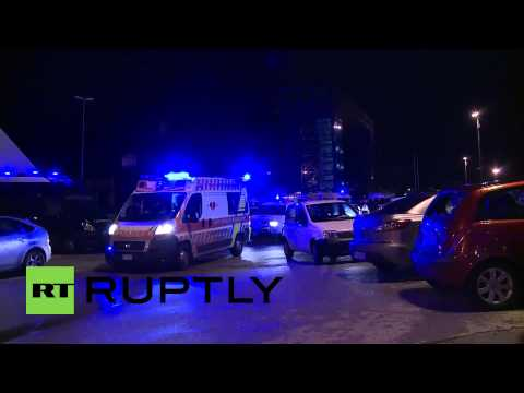 Italy: Ambulances arrive at Bari to rescue ferry fire victims
