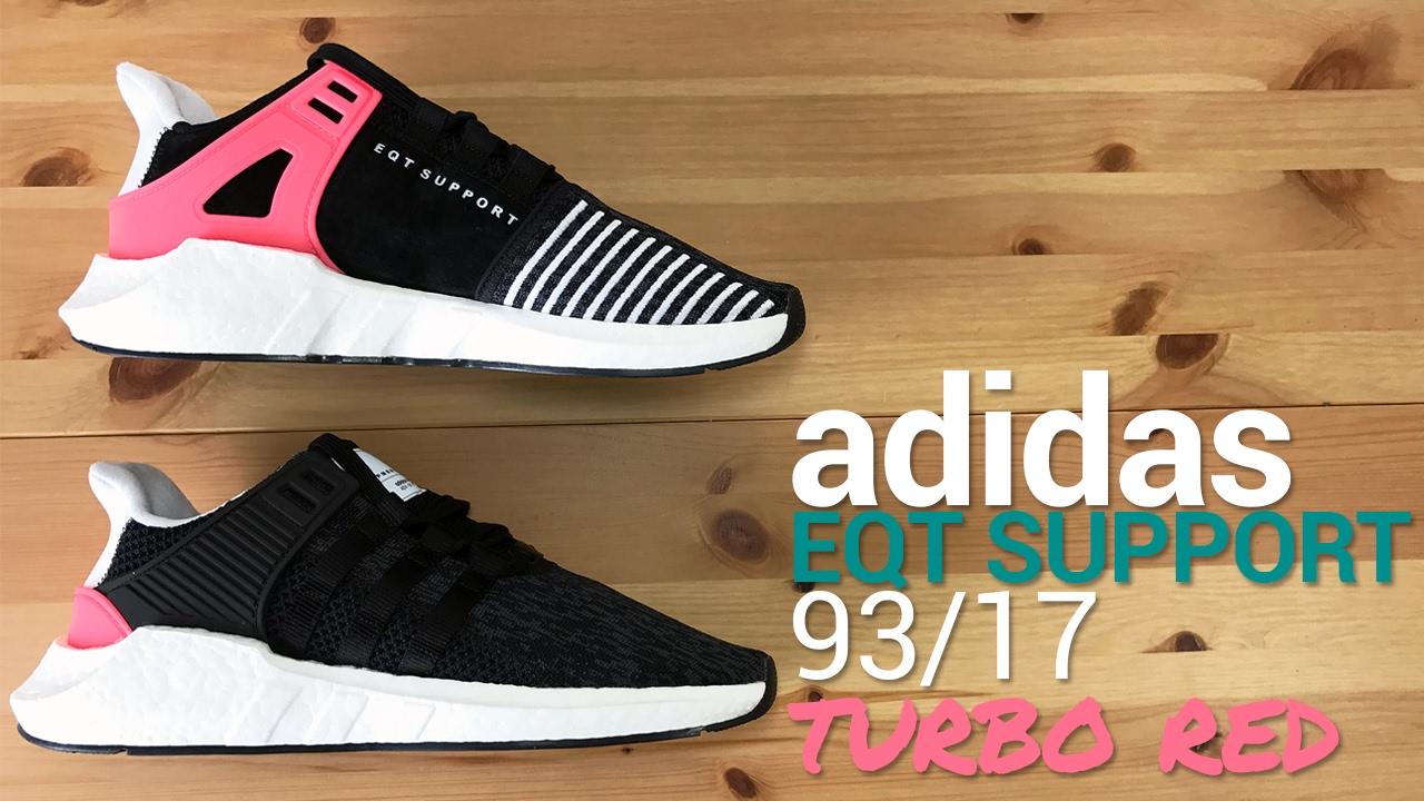Adidas eqt sostegno 93 17 turbo rosso unboxing, a piedi, & panoramica
