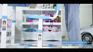 Costway Height Adjustable Children's Desk Chair Set Instructions (HW58130)