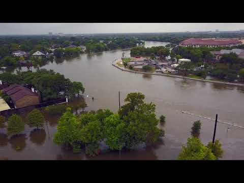Drone video of Brays Bayou in Harris County, Texas after Harvey