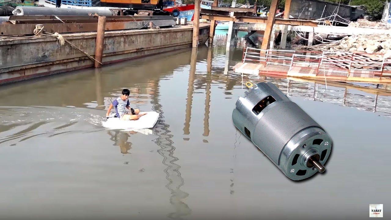 Chế thuyền từ xốp gắn động cơ Motor 775 chở được người | Motor 775 motor boat can carry people