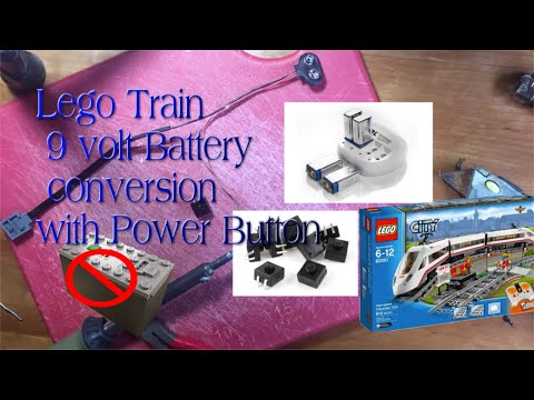 Lego Train converted to 9volt battery with power button