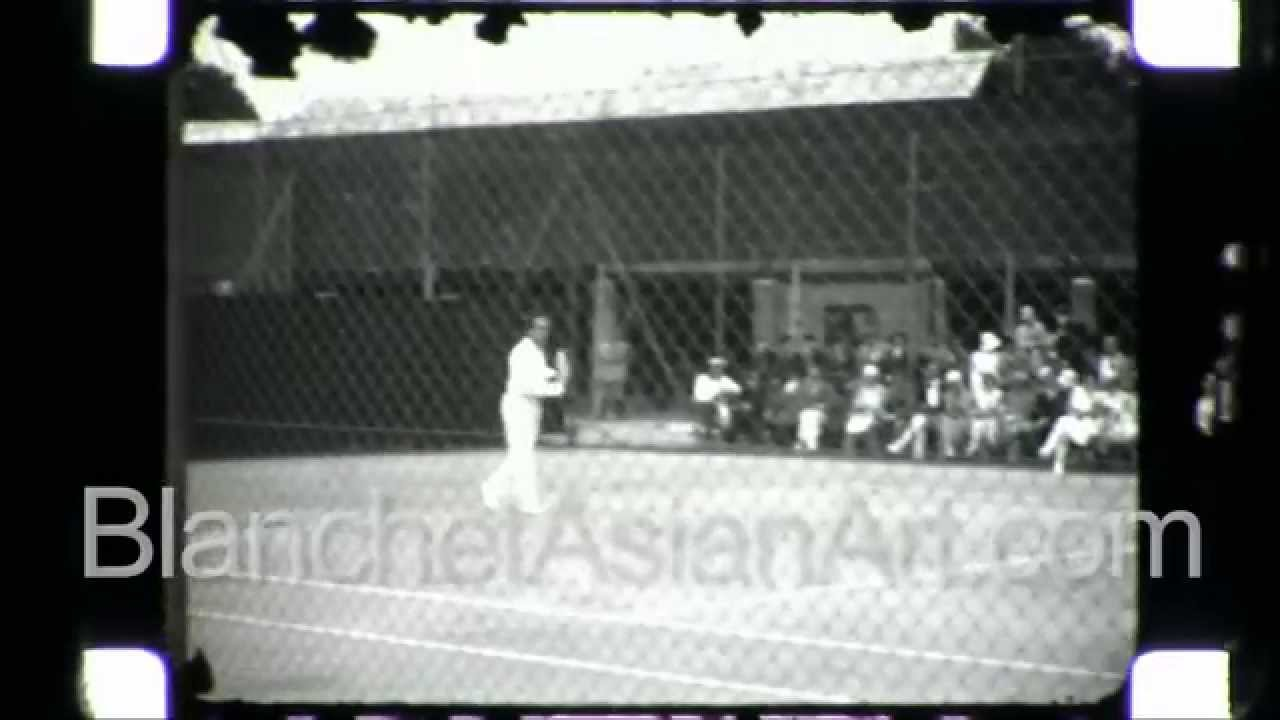 Rare black and white film of Henri Cochet famous French tennis