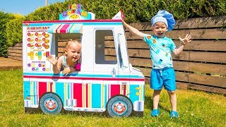Gaby and Alex Pretend Play Selling Ice Cream and other Fun K...