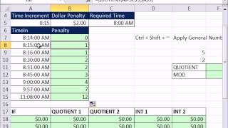 Excel Magic Trick 885.5: Part 2 Calculate Payroll Penalty QUOTIENT & OR & Array Constant