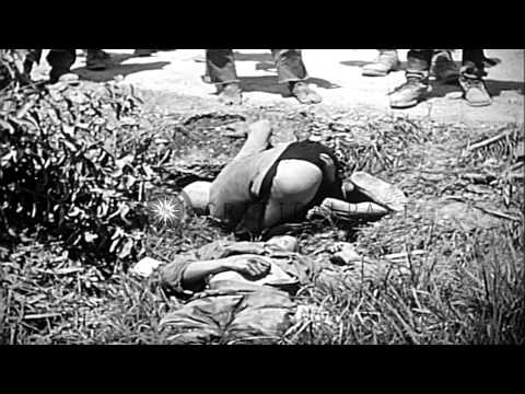 A US Marine fires at and drags a Japanese soldier in Okinawa, Japan during World ...HD Stock Footage