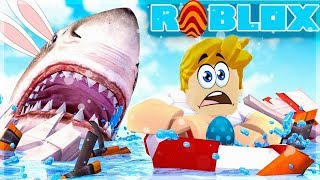 I'M GETTING ATTACKED BY A RABBIT SHARK! Roblox Sharkbite (Easter Event)