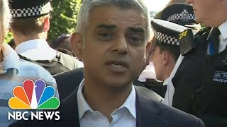 Angry Locals Interrupt London Mayor Sadiq Khan At Scene Of High-Rise Fire | NBC News
